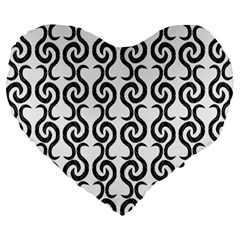 White and black elegant pattern Large 19  Premium Heart Shape Cushions