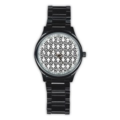 White and black elegant pattern Stainless Steel Round Watch