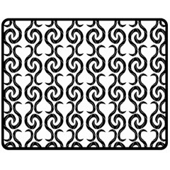 White and black elegant pattern Double Sided Fleece Blanket (Medium)