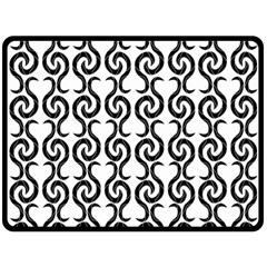 White and black elegant pattern Double Sided Fleece Blanket (Large)