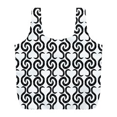 White and black elegant pattern Full Print Recycle Bags (L)