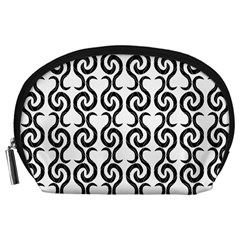 White and black elegant pattern Accessory Pouches (Large)