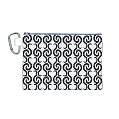 White and black elegant pattern Canvas Cosmetic Bag (M)