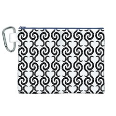 White and black elegant pattern Canvas Cosmetic Bag (XL)