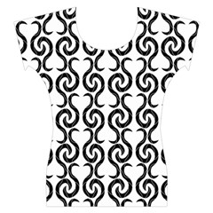 White and black elegant pattern Women s Cap Sleeve Top