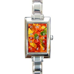 Colorful Fall Leaves Rectangle Italian Charm Watch