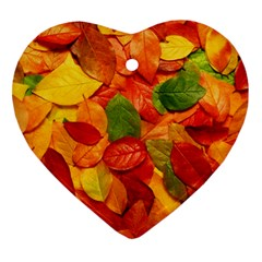 Colorful Fall Leaves Ornament (Heart)