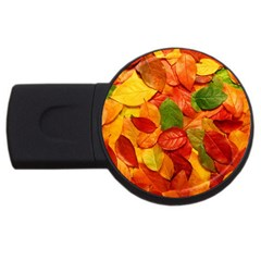 Colorful Fall Leaves USB Flash Drive Round (2 GB)