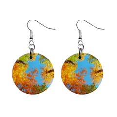Colorful Leaves Sky Mini Button Earrings