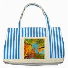 Colorful Leaves Sky Striped Blue Tote Bag