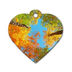 Colorful Leaves Sky Dog Tag Heart (Two Sides)