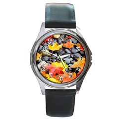 Colorful Leaves Stones Round Metal Watch