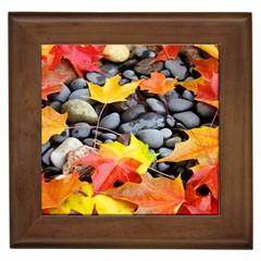 Colorful Leaves Stones Framed Tiles