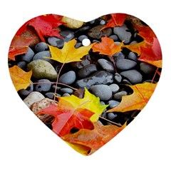 Colorful Leaves Stones Ornament (Heart)