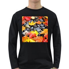 Colorful Leaves Stones Long Sleeve Dark T-Shirts