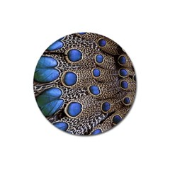 Feathers Peacock Light Magnet 3  (Round)