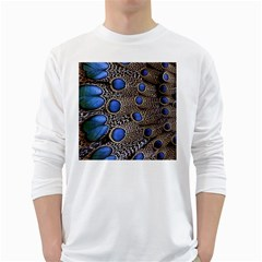 Feathers Peacock Light White Long Sleeve T-Shirts