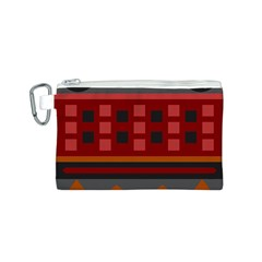 Red Aztec Canvas Cosmetic Bag (S)