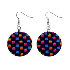 Seamless Tile Repeat Pattern Mini Button Earrings