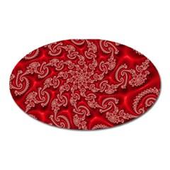 Fractal Art Elegant Red Oval Magnet