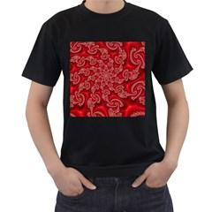Fractal Art Elegant Red Men s T-Shirt (Black)