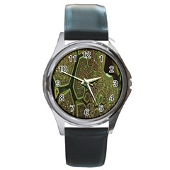 Fractal Complexity 3d Dimensional Round Metal Watch