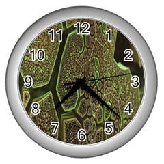 Fractal Complexity 3d Dimensional Wall Clocks (Silver)
