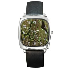 Fractal Complexity 3d Dimensional Square Metal Watch
