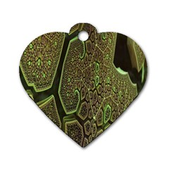 Fractal Complexity 3d Dimensional Dog Tag Heart (Two Sides)