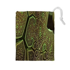 Fractal Complexity 3d Dimensional Drawstring Pouches (Large)
