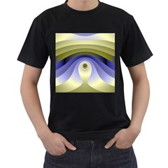Fractal Eye Fantasy Digital  Men s T-Shirt (Black) (Two Sided)