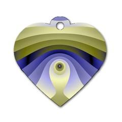 Fractal Eye Fantasy Digital  Dog Tag Heart (Two Sides)