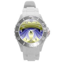 Fractal Eye Fantasy Digital  Round Plastic Sport Watch (L)