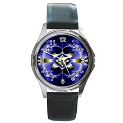 Fractal Fantasy Blue Beauty Round Metal Watch