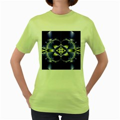 Fractal Fantasy Blue Beauty Women s Green T-Shirt