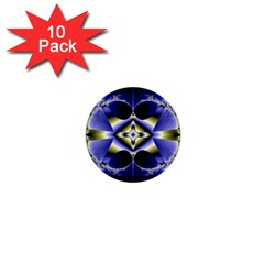Fractal Fantasy Blue Beauty 1  Mini Buttons (10 pack)