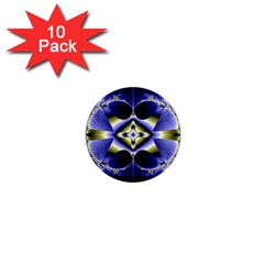 Fractal Fantasy Blue Beauty 1  Mini Magnet (10 pack)