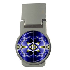 Fractal Fantasy Blue Beauty Money Clips (Round)