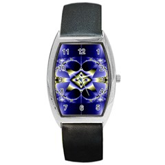 Fractal Fantasy Blue Beauty Barrel Style Metal Watch