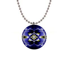 Fractal Fantasy Blue Beauty Button Necklaces