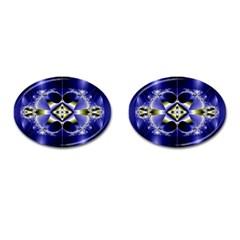 Fractal Fantasy Blue Beauty Cufflinks (Oval)