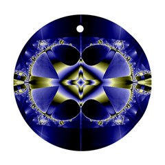 Fractal Fantasy Blue Beauty Round Ornament (Two Sides)