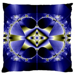 Fractal Fantasy Blue Beauty Large Cushion Case (Two Sides)