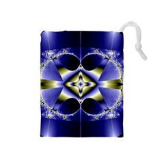 Fractal Fantasy Blue Beauty Drawstring Pouches (Medium)