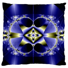 Fractal Fantasy Blue Beauty Large Flano Cushion Case (Two Sides)