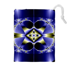 Fractal Fantasy Blue Beauty Drawstring Pouches (Extra Large)