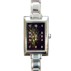 Fractal Flame Light Energy Rectangle Italian Charm Watch
