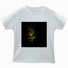 Fractal Flame Light Energy Kids White T-Shirts
