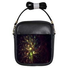 Fractal Flame Light Energy Girls Sling Bags