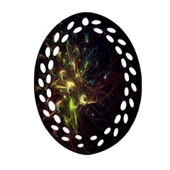 Fractal Flame Light Energy Oval Filigree Ornament (2-Side)